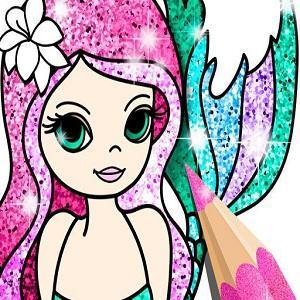 Mermaid Coloring Book Glitter